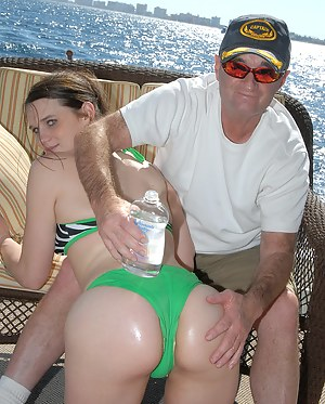 Sensational brunette in green lingerie is fucking on the boat like a real slut. She is practicing ass licking and ball licking before penetration.
