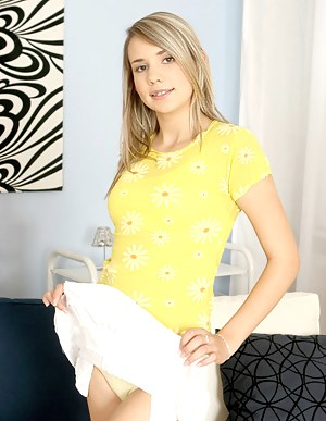 Hot sexy bridget shows her yellow underwear feels good posting a fuck position in the top of lounge