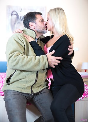 Sensual blonde teen Cayla Lions taking old Philippe's cock