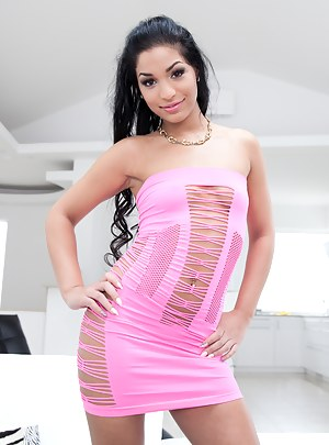 Join professional pornstars practicing wild threesome on camera. Latina babe is taking off her purple dress and pleasing two wild guys.