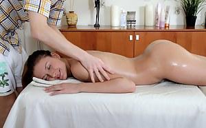 Horny massaging fellow penetrates his customer hardcore