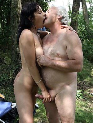 Horny grey senior fucking a brunette beauty in her pussy