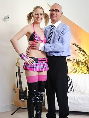 British stocking slut enjoys a senior cock inside her twat