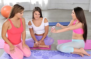 Three yoga hotties practice their moves together and there's only one of them who wants to take it up a notch by fucking a guy.