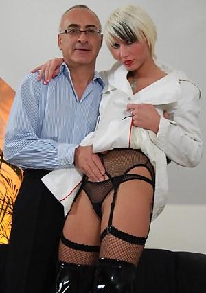 Skanky blonde British girl fucked by a big senior erection