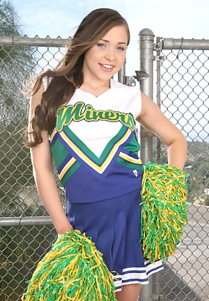 Horny slut wearing cheerleader's uniform is getting her sweet holes penetrated hard. She loves being banged in all the sweetest positions.