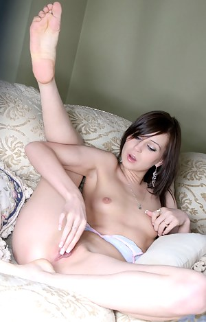 Tosha really loves caressing her tiny nips and pink pussy in front of us