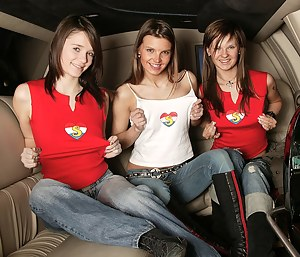 Three sexy teens getting so fucking naughty in a limousine