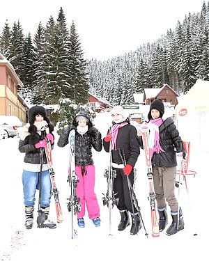 Four very cute teenage brunettes fucking at a ski resort