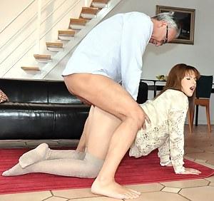 Street slut girl loves bending over for a big stiff cock