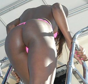 Lovely ebony babe and her white girlfriend are enjoying passionate group sex with two strong guys on the boat and getting pushed into the sea.