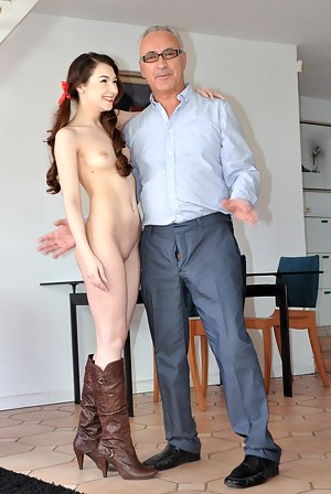 Amazing brunette babe suck and fuck senior Jim cock hard